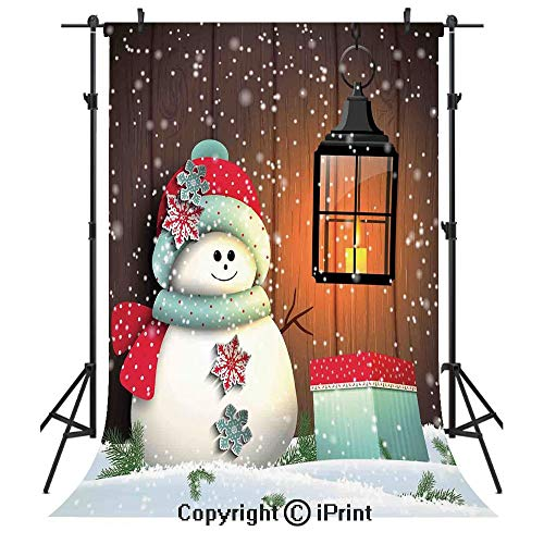 Christmas Photography Backdrops,Cute Snowman with Santa Hat in The Garden with a Gift Box and Lantern Image,Birthday Party Seamless Photo Studio Booth Background Banner 3x5ft,Brown White