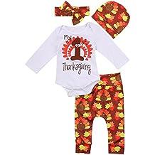 Thanksgiving Outfit Newborn Baby Boy Girl Letter Print Romper Turkey Print Pant Hat Headband 4pcs Clothes Set