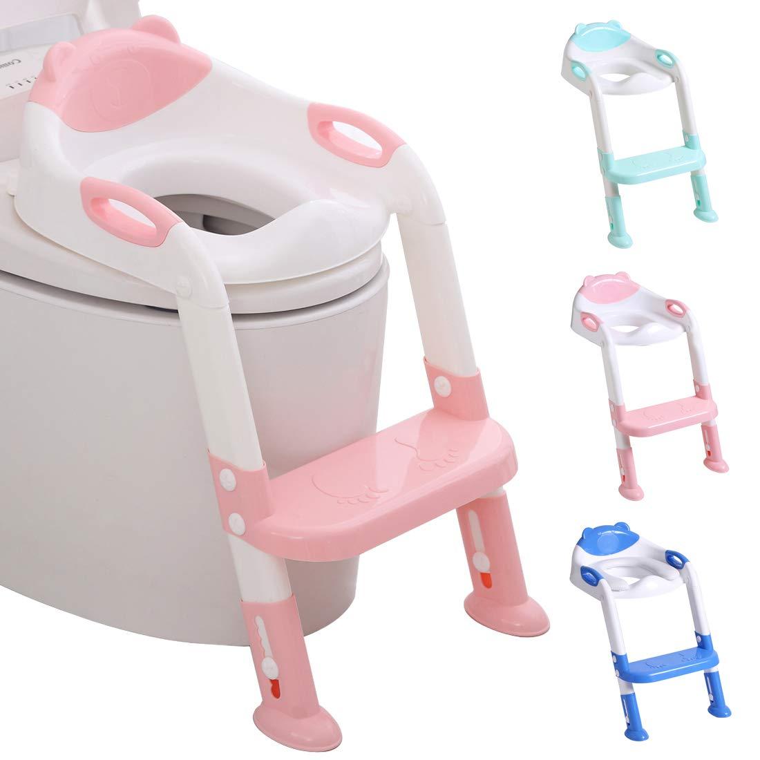 Adaptador Infantil para Inodoro con Escalera - Rosa y Blanco