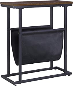 FIVEGIVEN Small Narrow Side Table Retro Industrial End Table with Magazine Rack Espresso 8 Inch