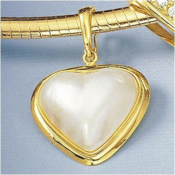 14kt. Gold Heart Shaped Mobe Pearl Clip/Pendant