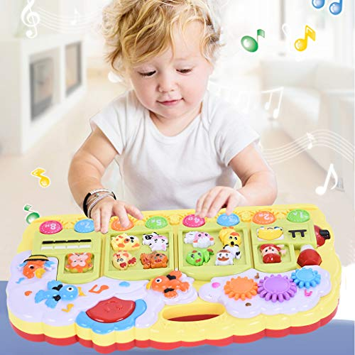 XGao Baby Toys 6 to 12 Months, Baby Music Toys Multi-function Electronic Piano Keyboard Light Animal Sounds Infant Toy Activity Center Educational Best Gifts for Months Year Old Boy Girls (Multicolor)