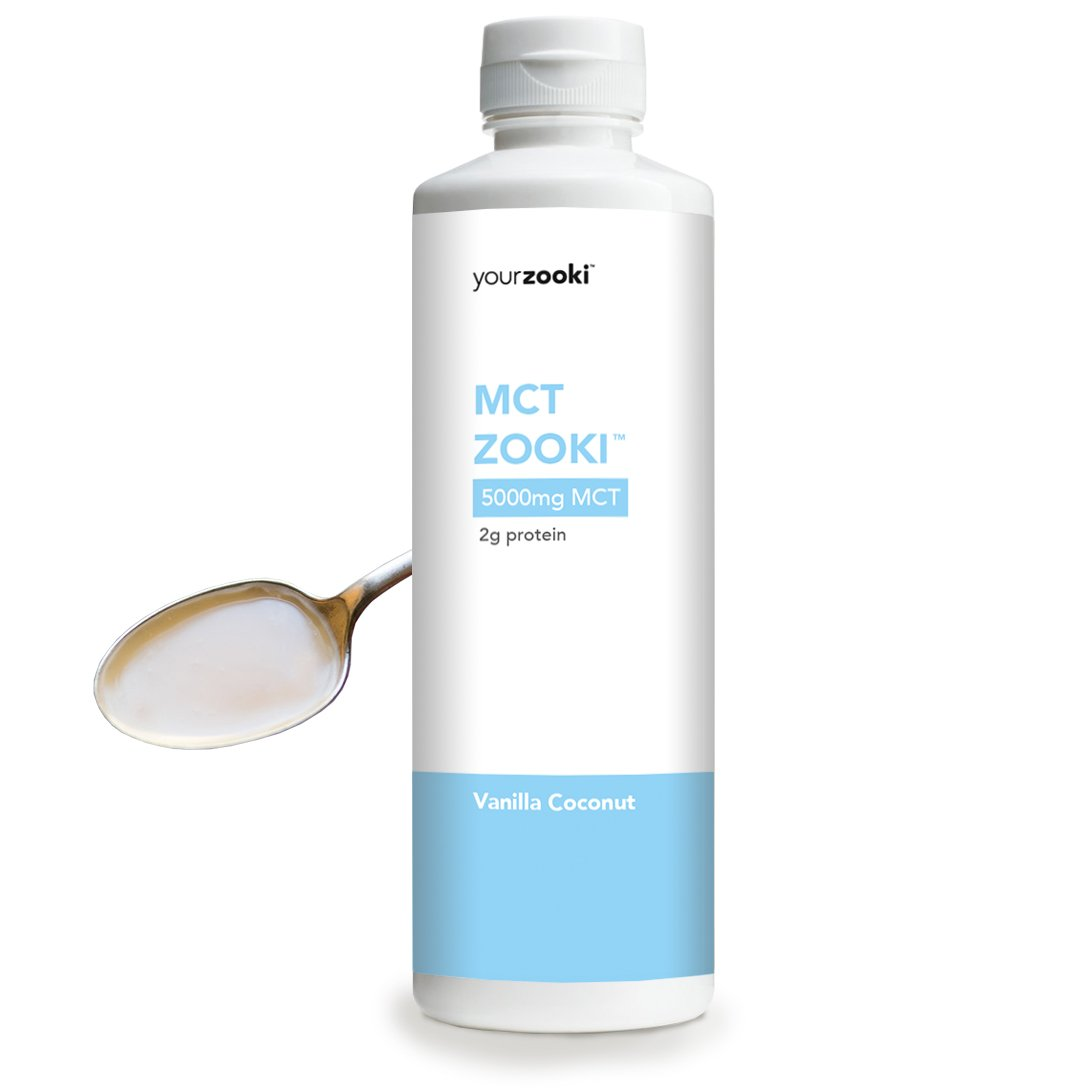 Emulsified MCT Oil, Vanilla Coconut | 100% Coconut C8+C10 Medium Chain Triglycerides | Pure Natural Energy from Healthy Fats | Sugar Free, Sustainably Sourced | 450ml Bottle | MCT Zooki by YourZooki