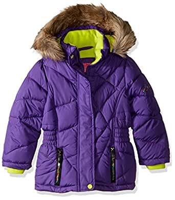 Weatherproof Toddler Girls' Bright Mix Stitched Bubble Jacket, Purple/Lime, 4T