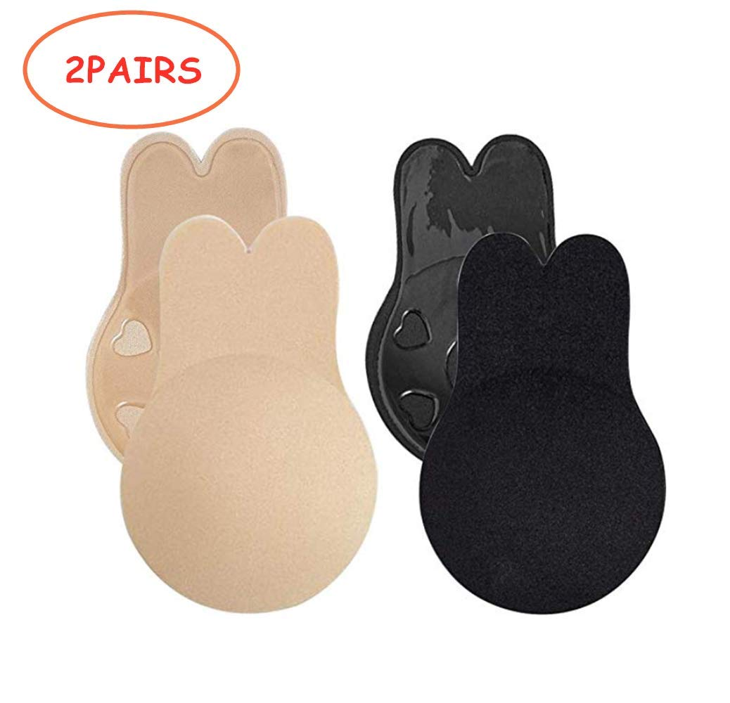 Women's Adhesive Lift Bra Pads 2 Pairs, Invisible Backless Nipplecovers Silicone Pasties, Push Up Sticky Bra, Washable & Reusable