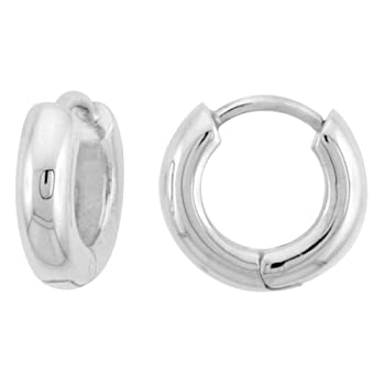 Sterling Silver Huggie Earrings U-Shape Flawless Finish, 7/16 inch