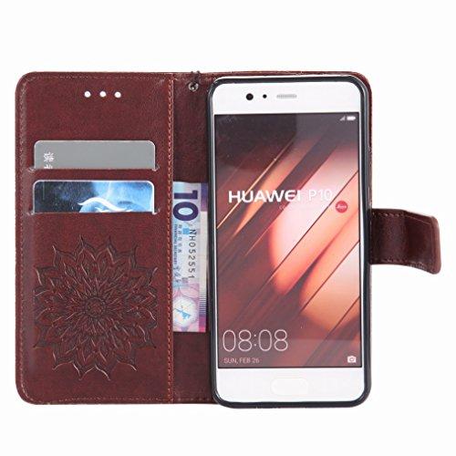 Yiizy Huawei P10 Custodia Cover, Sole Petali Design Sottile Flip Portafoglio PU Pelle Cuoio Copertura Shell Case Slot Schede Cavalletto Stile Libro Bumper Protettivo Borsa (Marrone)