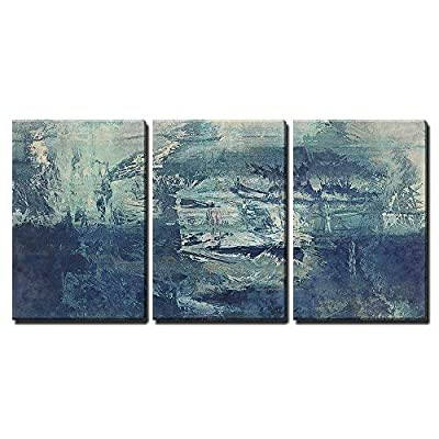 Wonderful Expertise, it is good, Art Abstract Acrylic Background in White and Blue Colors x3 Panels