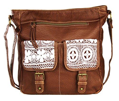 Large Brown Womens Handbag (Brown Large Vintage Lace Crossbody Messenger Bag Purse – Faux Leather)
