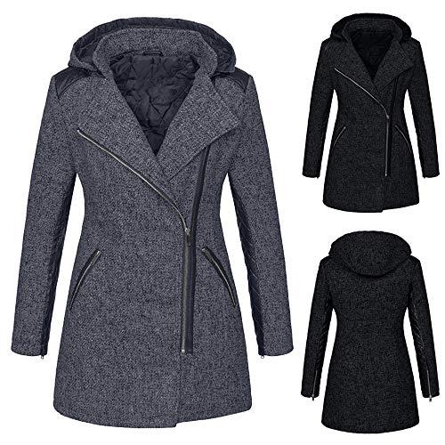 manteau Outwear manteau vent Innerose épais hiver alla zipper de chaud d'extérieur chaud femmes avec Parka noir pull de capuche coupe à veste 0OSOUwx