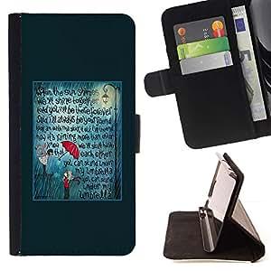For Sony Xperia Z2 D6502 Case , Teal Umbrella cita del amor de texto- la tarjeta de Crédito Slots PU Funda de cuero Monedero caso cubierta de piel