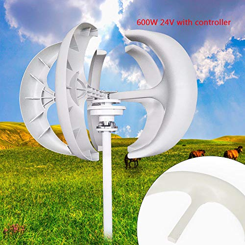 SHZICMY Wind Turbine Generator, 600W 12/24V Lantern Type 5-Blade Vertical Axis Wind Turbine Generator Kit with Controller (USA Stock) (White 24V) (12v Stator And Hub)