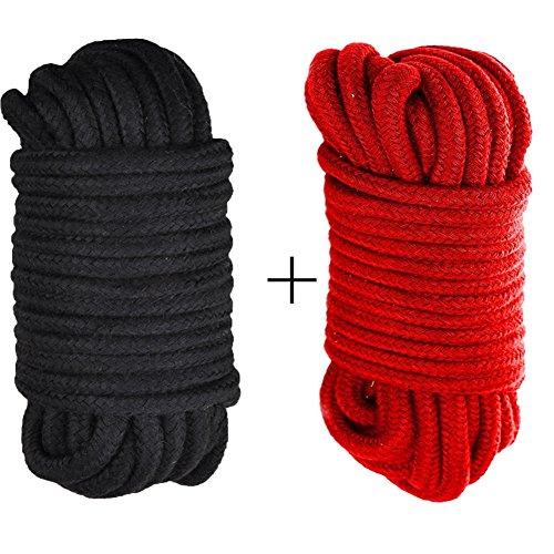 MASY BDSM Bondage Restraints 10m 32 Feet Long Japanese Rope Role Fun Game Play Kit Clothing Accessory 2 Pcs (Black-Red)
