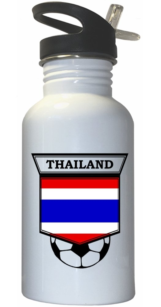 Thai Soccer White Stainless Steel Water Bottle Straw Top - Thailand by Custom Image Factory