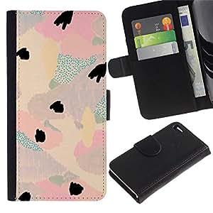 Apple iPhone 4 / iPhone 4S Modelo colorido cuero carpeta tirón caso cubierta piel Holster Funda protección - Watercolor Pastel Tone Colors Teal Pink