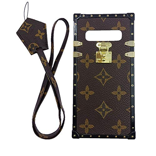 (jiehao Samsung Galaxy S10 Case, Vintage Elegant Luxury Designer Monogram PU Leather Back with Lanyard Soft Bumper Shock Absorption Trunk Case Cover Phone Case for Galaxy S 10 6.1