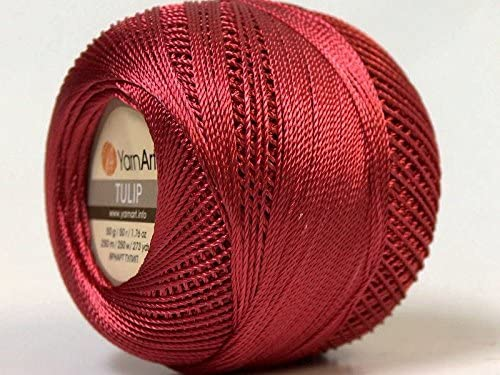 Red Yarn Art Tulip Size 10 Microfiber Thread Dark Red 273 Yards 50 Gram