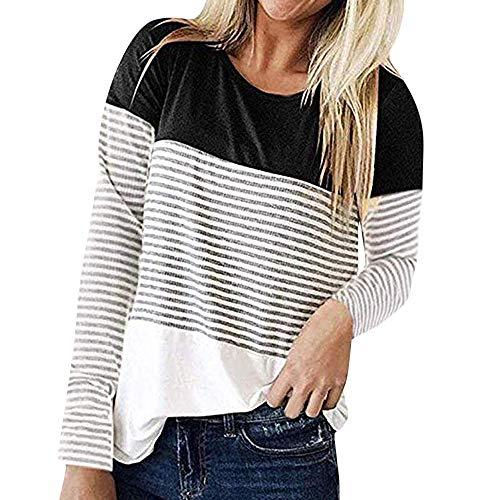 Wobuoke Women Long Sleeve Triple Color Block Patchwork Stripe T-Shirt Casual Blouse ()