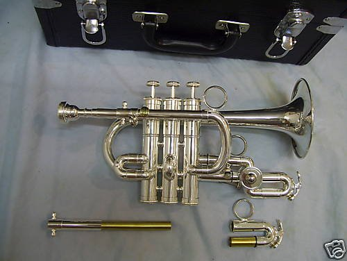 Piccolo trumpet with hard case and mouthpiece, silver