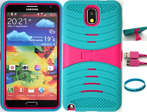 Wireless Fones TM Ultra Shock Absorbent Tough Grip Teal and Pink Kickstand Case For Samsung Galaxy Note 3
