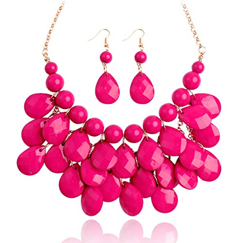RIAH FASHION Chunky Acrylic Jewel Cluster Floating Bubble Statement Necklace - Teardrop Dangle Layered Bib Collar (Hot Pink)