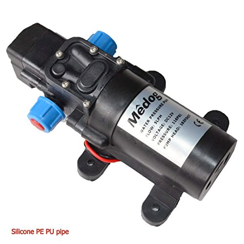 Medog Water pump Diaphragm Pressure pump DC12v 60W 5LPM 1.35GPM 116 PSI Pump head 165foot Caravan/RV/boat/marine/Agricultural Spraying port (Silicone PE PU - Water 165'