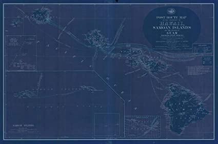 Guam And Hawaii Map.Amazon Com Vintography Blueprint Style 8 X 12 Nautical Map Of