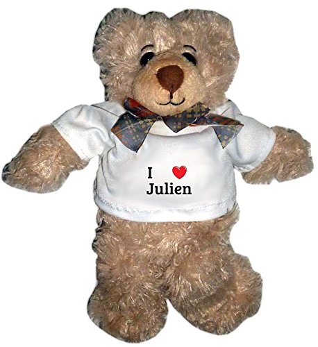 Plush teddy bear with bow tie and heart. Text on t-shirt: I heart Julien (first name, last name, nickname)