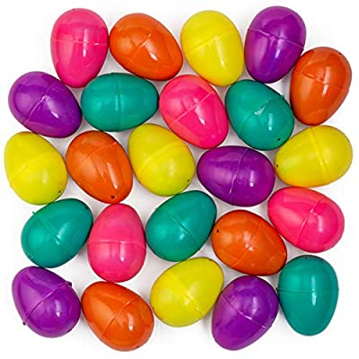 WALLA! Fillable Plastic Easter Eggs Empty Egg Colored Easter Eggs 100 Bulk Easter Eggs Hinged Easter Eggs Solid Color Easter Eggs, Great to Fill Candy with Toy Filled Easter Eggs for Easter Hunt Game: Toys & Games