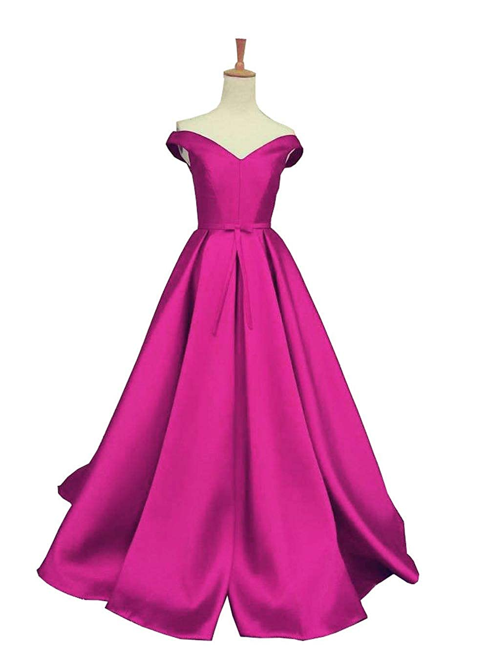 Fuchsia DreamSkirts Women's Off The Shoulder ALine Evening Ball Gowns with Bow