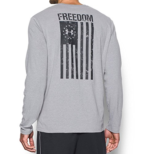 Under Armour Mens Freedom Flag Long Sleeve T-Shirt,True Gray Heather (025)/Black, Large