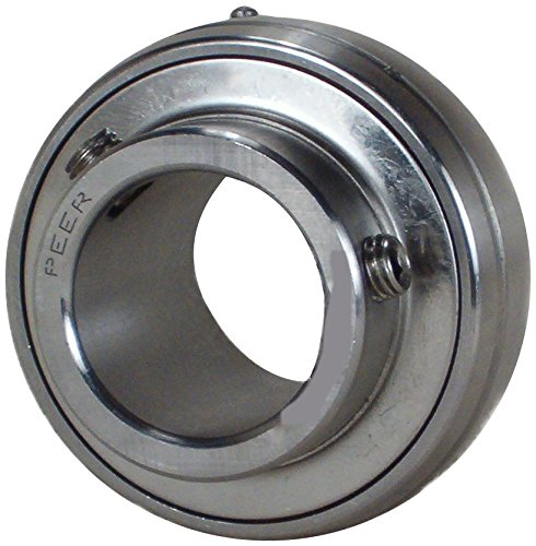 Peer Bearing SUC206-30MM Stainless Steel Insert Bearing, SUC200 Series, Wide Inner Ring, Spherical Outer Ring, Relubricable, Set Screw Locking Collar, Metric, Single Lip Seal, 30 mm Bore, 19 mm Inner Ring, 38.1 mm Outer Ring, 30 mm (1.181