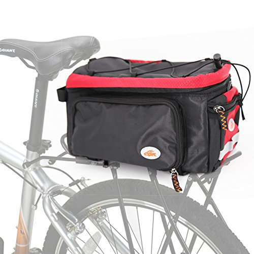 - ezyoutdoor Black Bicycle Bag Rear Bag Side Pocket Cycling Rear Package Shelf Package Bike Seat Bag Extensible Large Rear Seat Package