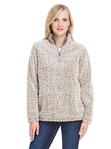 J. America JA8451 Ladies' Epic Sherpa Quarter-Zip Oatmeal Heather M ()