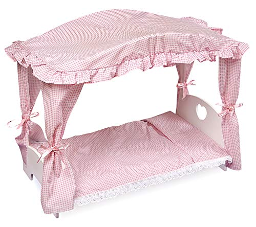 Badger Basket Canopy Doll Bed with Bedding (fits American Girl dolls) ()