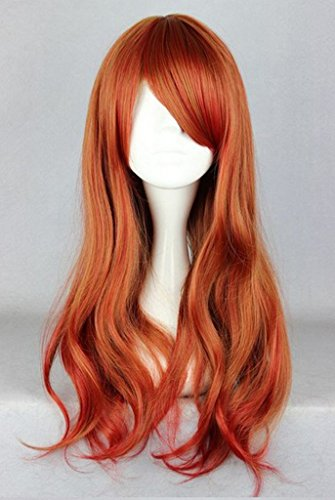 Stylish Women Long Length Curly Hair Wig with Full Bangs Cosplay (Wine Red) NW17 (Red Wig With Bangs)