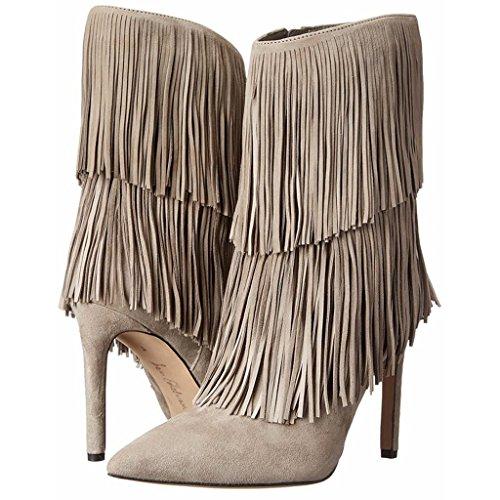 brown fatti mano caviglia banchetto Inverno Scarpe da impermeabili Autunno PU a GRAY scarpe Signora Lady Stivali della 34 tallone 0702FD artificiale 36 Booties XnqPZXO0H