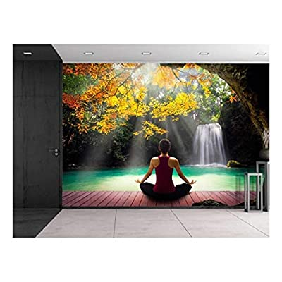 Girl Meditating on a Bridge Under a Tree Looking Over a Waterfall - Wall Mural, Removable Sticker, Home Decor - 100x144 inches