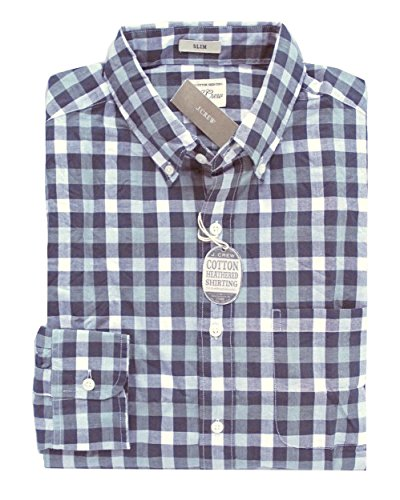 J Crew Men's - Slim Fit - Blue/Gray Gingham Secret Wash Cotton Shirt (Large) from J.Crew