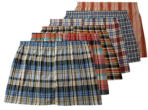 Men's True Big and Tall USA Classic Design Plaid Woven Boxer Shorts Underwear ( 6 Pack ) (4XL, Assorted) (Classic Boxer Plaid Mens)
