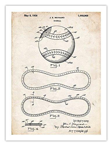 Babe Ruth Vintage Baseball Glove - Steves Poster Store BASEBALL DESIGN INVENTION POSTER 1928 PATENT PRINT 18X24 VINTAGE REPRO MAYNARD NATIONAL BALLGAME GAME BASE BALL MITT GLOVE BABE RUTH GIFT