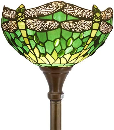Tiffany Floor Lamp Torchiere Up Lighting W12H66 Inch Green Stained Glass Crystal Bead Dragonfly Lampshade Antique Standing Iron Base 1E26 Foot Switch S459 WERFACTORY Living Room Home Office Decoration