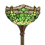 Tiffany Style Torchiere Light Floor Standing Lamp Wide 12 Tall 66 Inch Green Stained Glass Crystal Bead Dragonfly Lampshade for Living Room Bedroom Antique Table Set S459 WERFACTORY