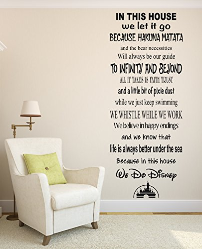 In This House We Do Disney Famous Movie Quote Wall Decal Living Room Decor Art Vinyl by Pinkie Penguin (Image #1)