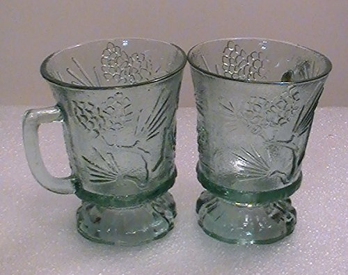 Vintage Tiara Ponderosa Pine Green Indiana Glass Pedestal Mugs - Set of 4