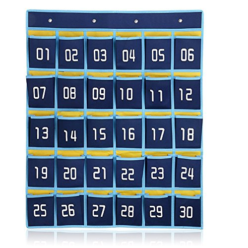 100 Hooks Numbered (Loghot 30-Pocket Numbered Classroom Pocket Chart for Cell Phones Holder Wall Door Hanging Organizer with Hooks (Dark Blue))