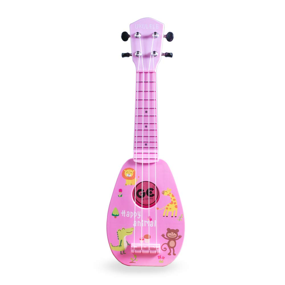 17 Inch Mini Guitar Ukulele Toy For Kids,Plastic Animal Kingdom Cartoon Children Educational Learn Guitar Ukulele With the Picks and Strap Can Play Musical Instruments Toys (17 Inch Pink)