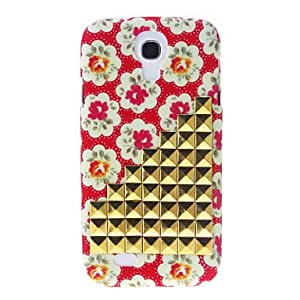 Gt Gold Stairs Rivet and Flowers Pattern Hard Back Cover Case for Samsung Galaxy S4 I9500 , Red