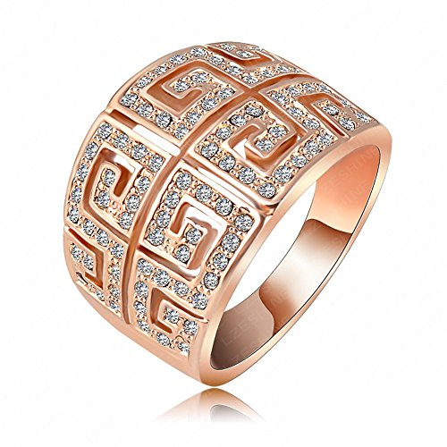 FENDINA FENDINCFDR026 FENDINA Jewelry 18K Rose Gold Plated Wedding Engagement Rings Engraved
