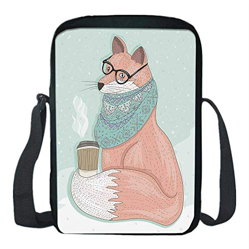 Wallace Glass Print - Animal Decor Print Kids Crossbody Messenger Bag,Cute Hipster Fox with Glasses and Scarf Drinking Coffee Hippie Illustration for Boys,9''H x 6''L x 2''W